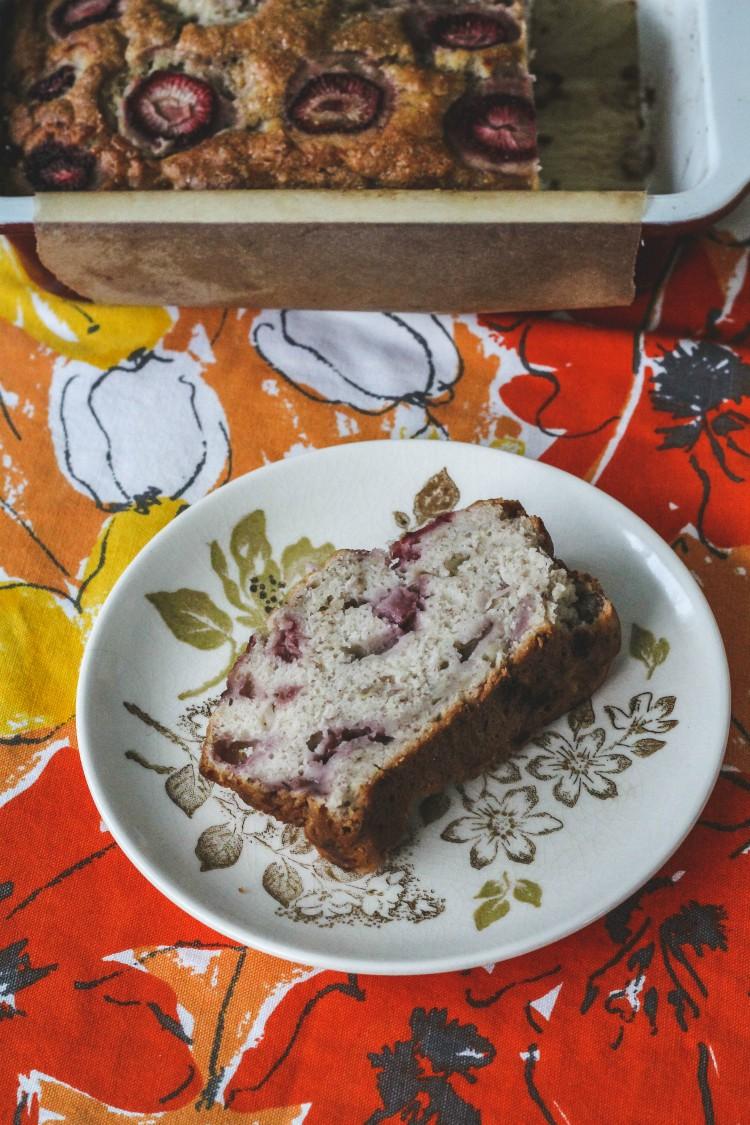 overhead image of slic eof strawberry bread