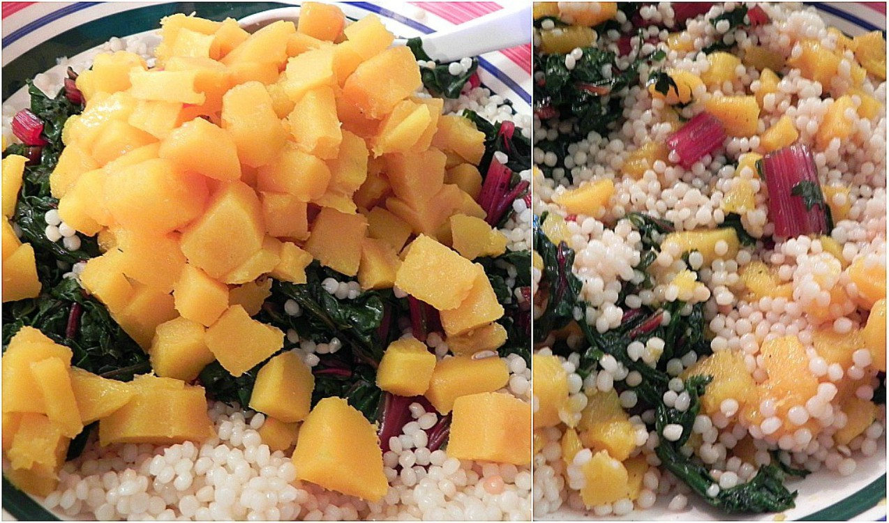 overhead image of yellow vegetable with cous cous