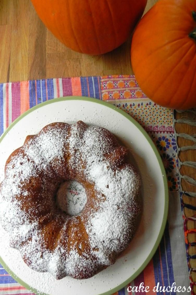 overhead image of pumpkin coconut bundt cake