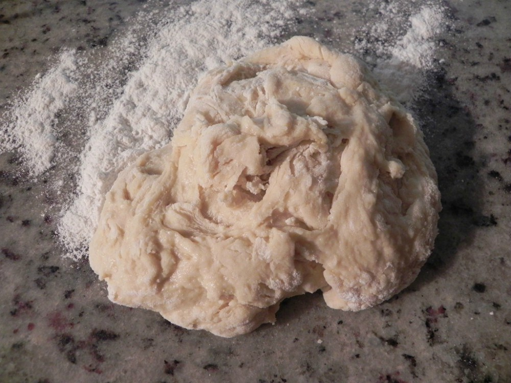 overhead image of dough on a counter