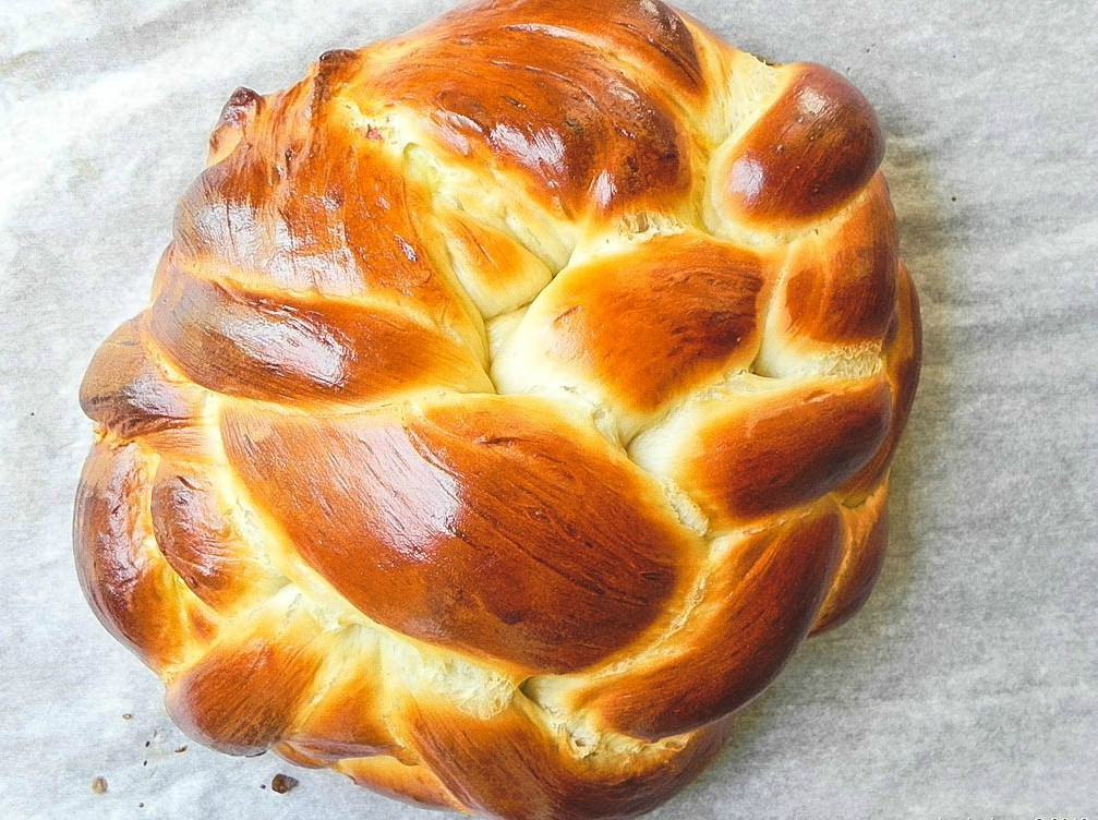 overhead image of honey challah bread