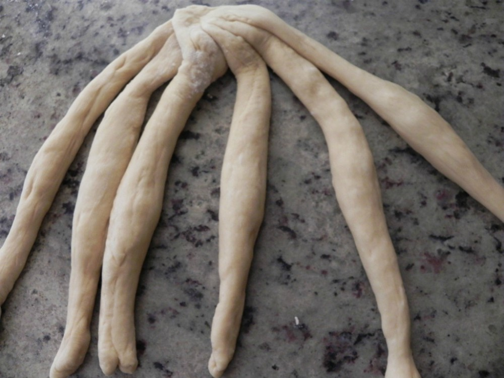 overhead image of six strands of bread dough on a counter