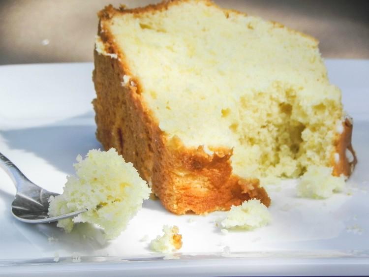 bite taken out of slice of cake