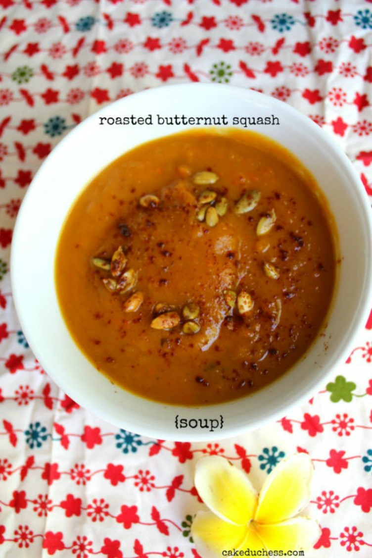 overhead image of roasted butternut squash soup on a colorful napkin