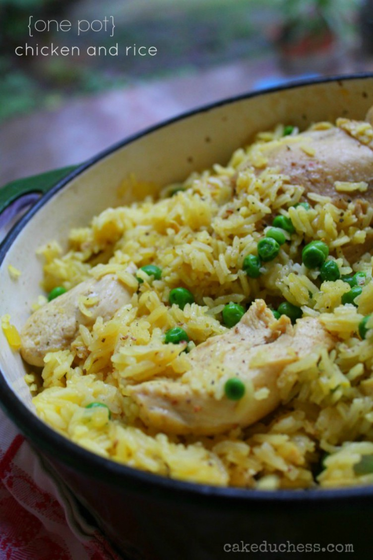 overhead image of one pot chicken and rice