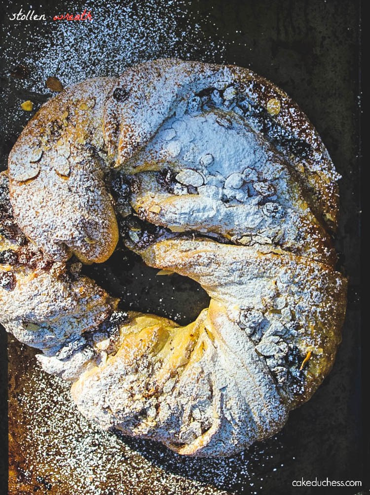 overhead image of holiday bread on baking sheet