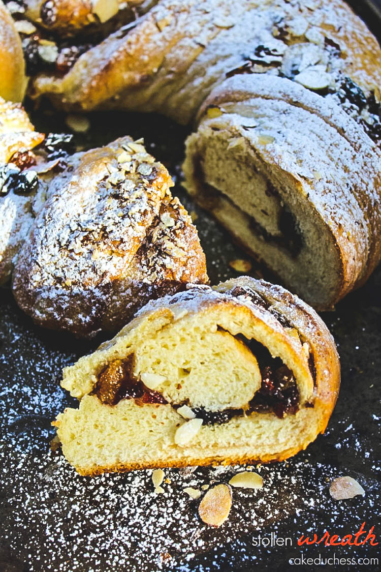 overhead image of bread with powdered sugar on top