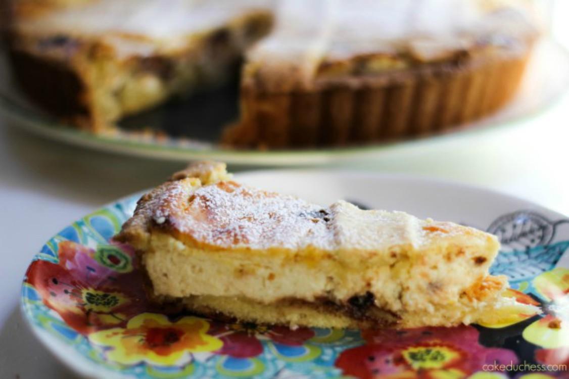 slice of italian ricotta pie on floral plate