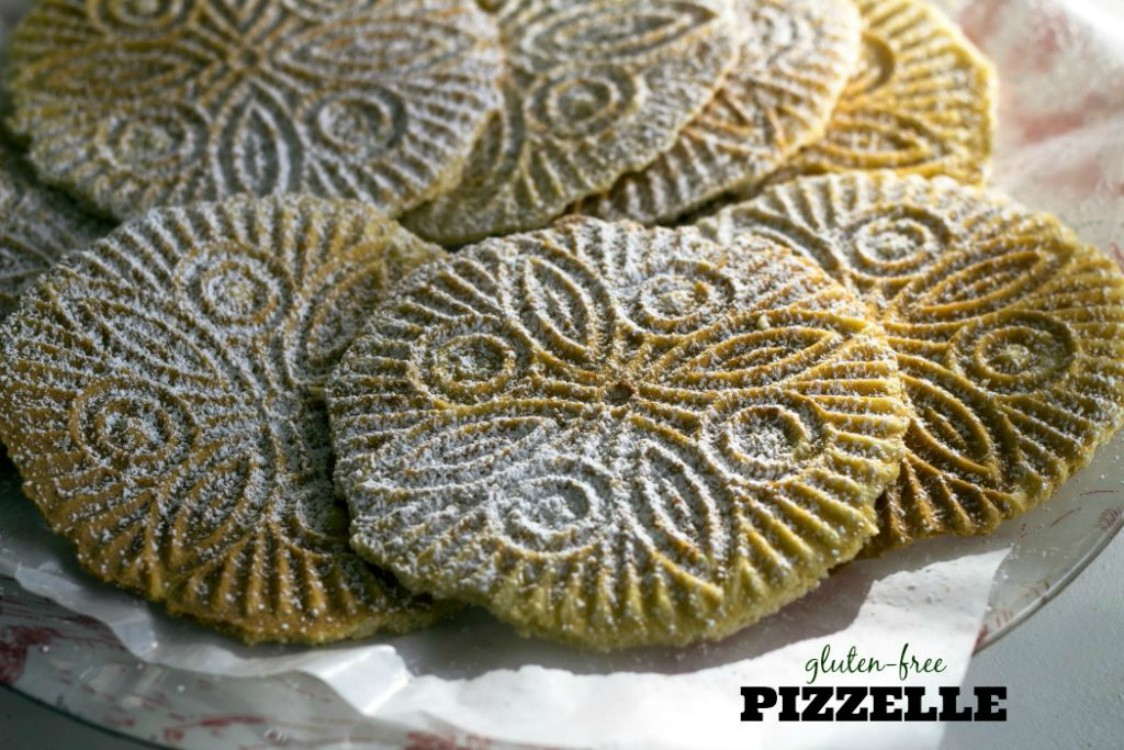 overhead image of pizzelle cookies