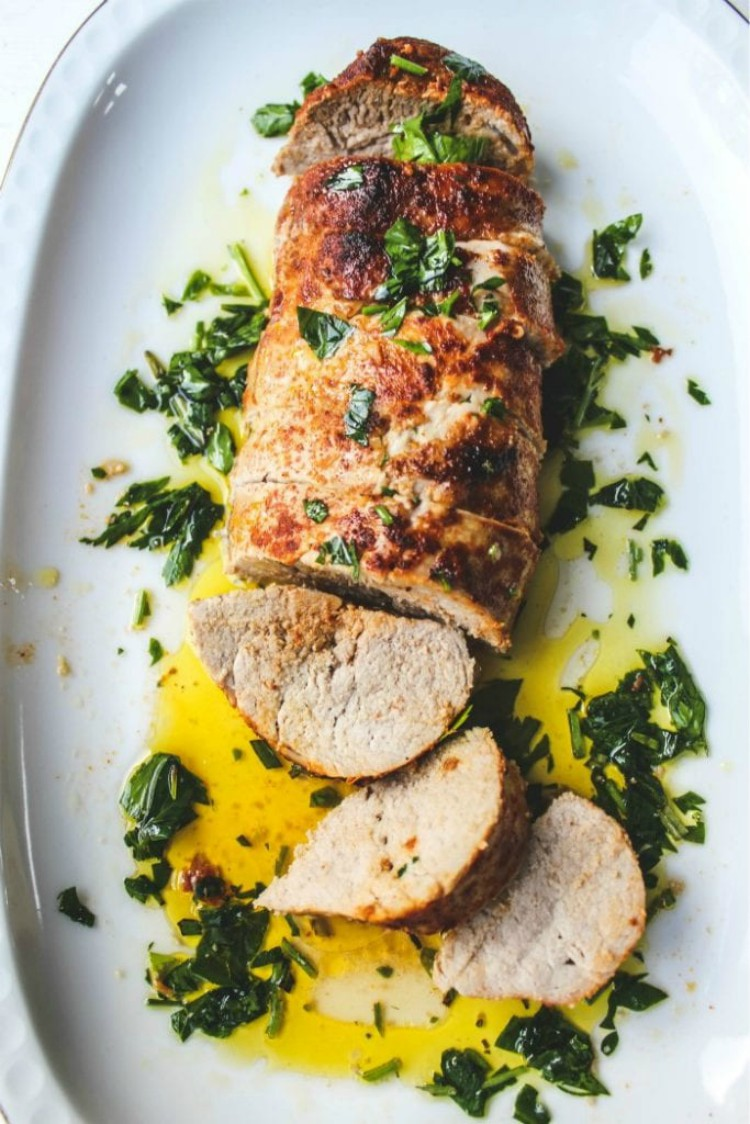 overhead imgage of rosemary and garlic pork tenderloin