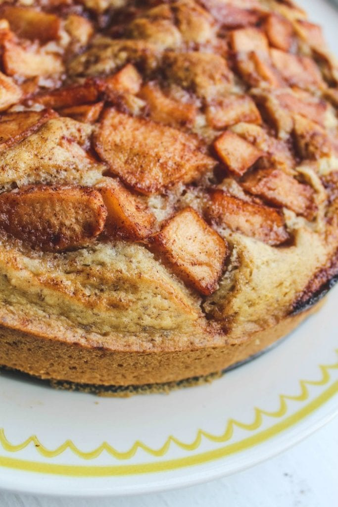 A super moist apple cake infused with cinnamon and ginger flavors. A healthier cake perfect for afternoon tea or for the upcoming holidays. #vegan #baking #applecake #recipe