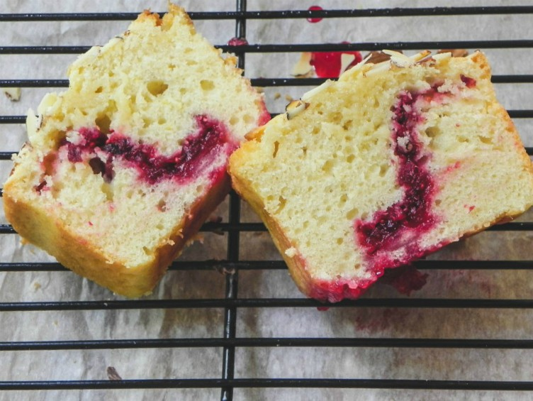 overhead image of slice of cranberry cake