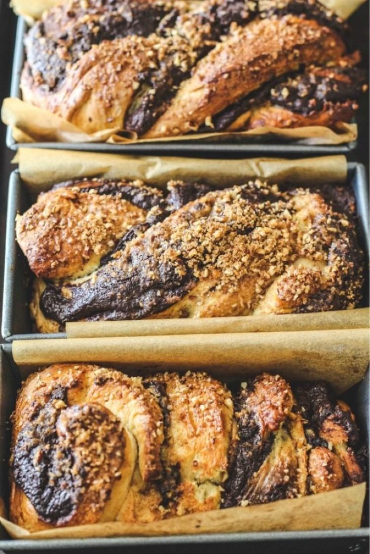image of chocolate babka in baking pans