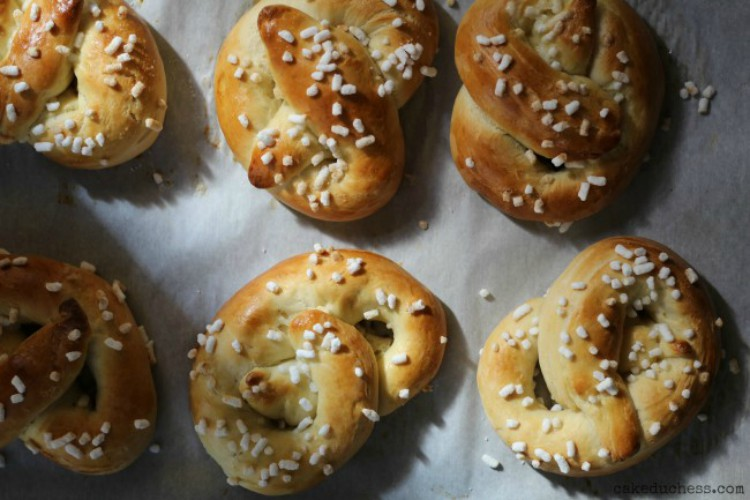 overhead image of pretzels with sugar topping