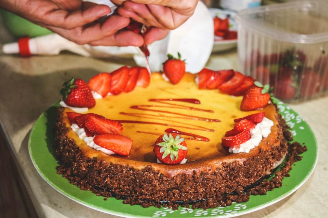 overhead image of making cheesecake