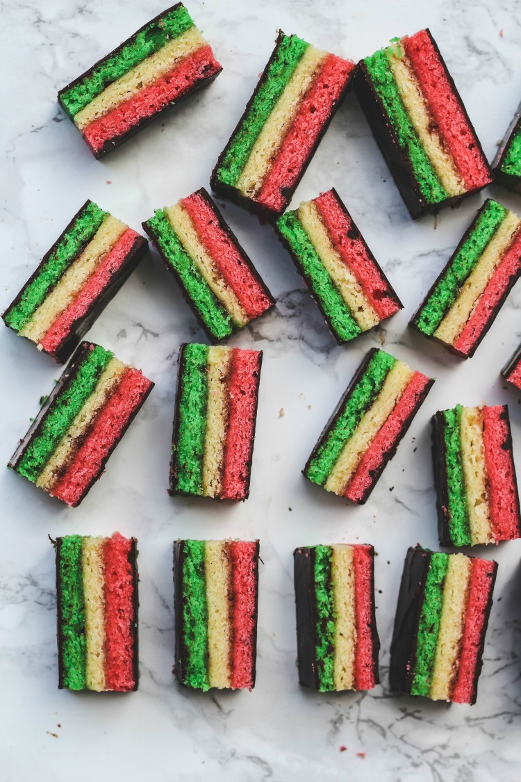 overhead imgage of striped cookies