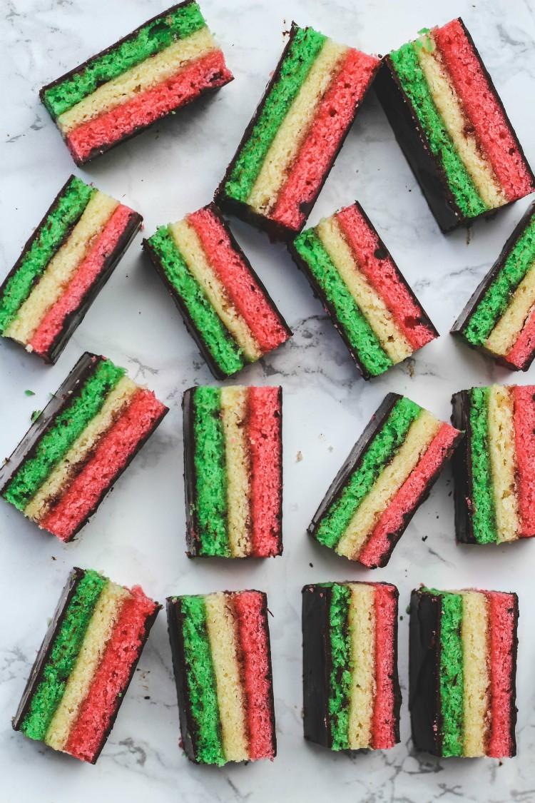 overhead image of italian rainbow cookies