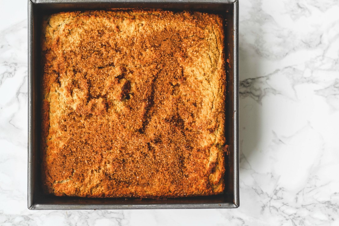 overhead image of cake in a baking pan