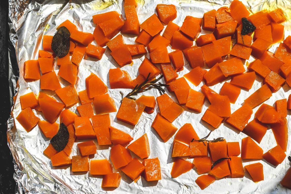 overhead image of roasted squash
