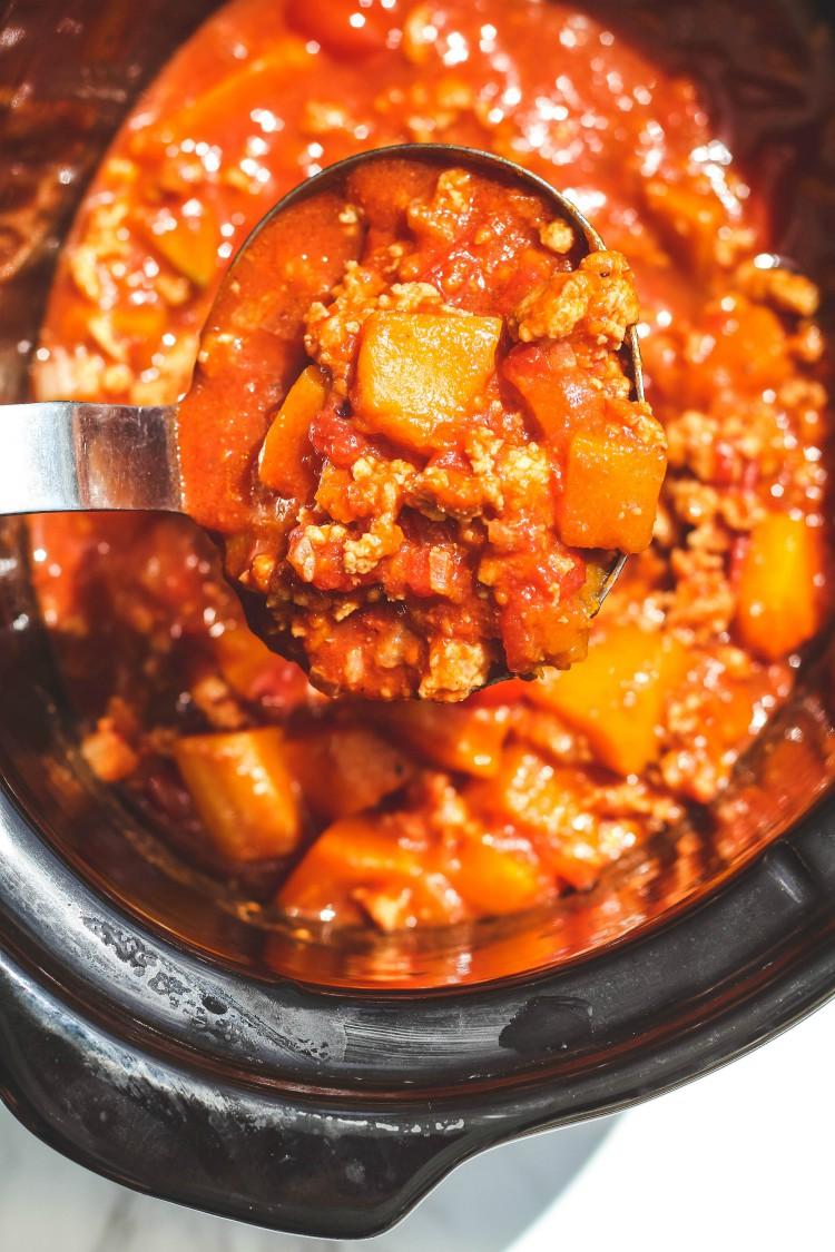 overhead image of no bean butternut squash chili in a crock pot