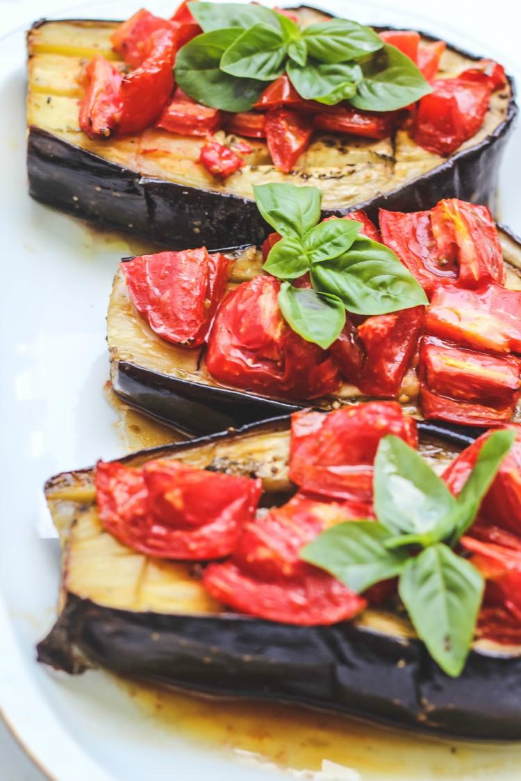 overhead image of eggplant and tomato dish