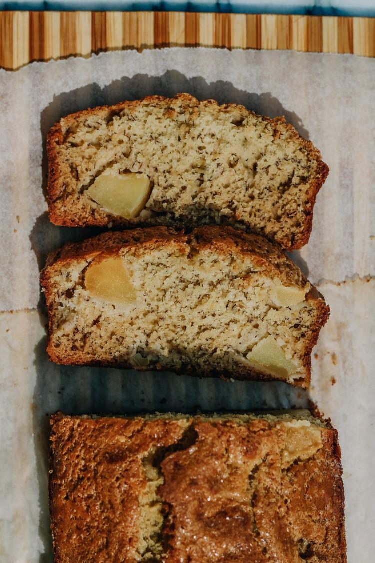 overhead image of apple banana bread sliced
