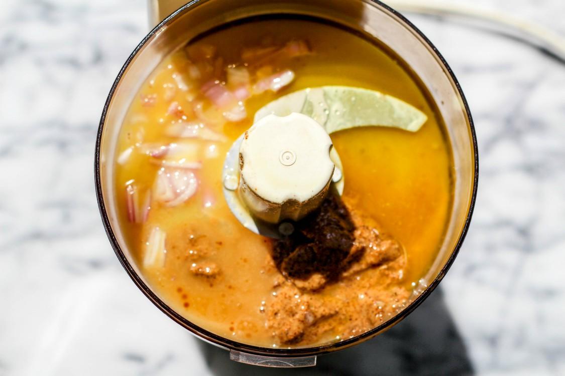 overhead image of making orange almond salad dressing