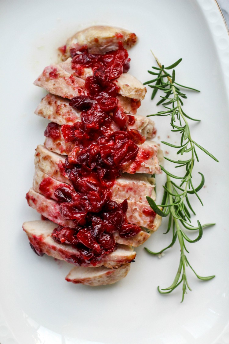 overhead image of cranberry glazed turkey tenderloin on white plate