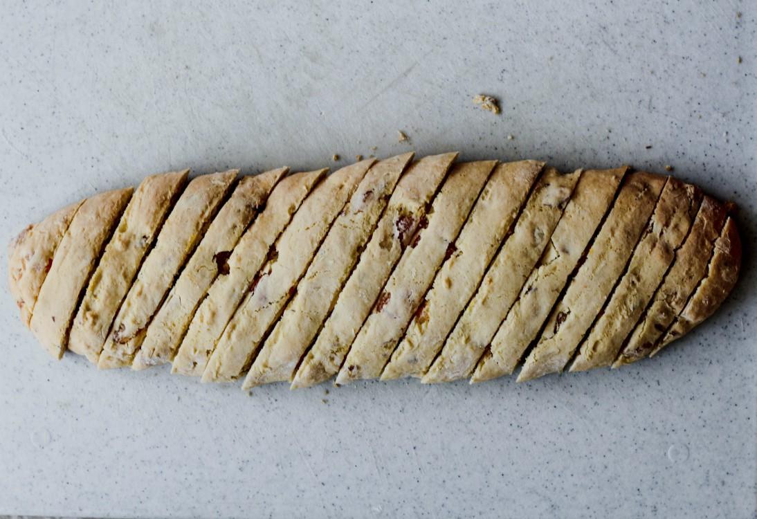 overhead image of sliced cookie dough log