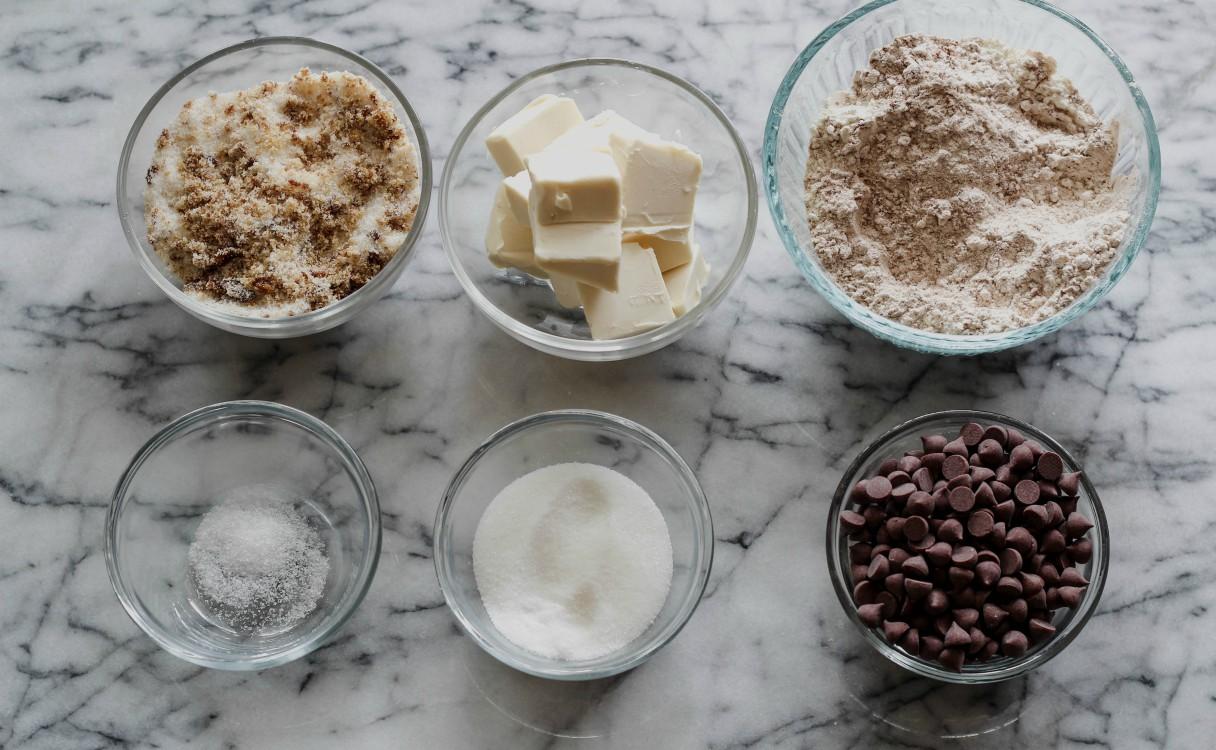 overhead image of making cookies ingredients