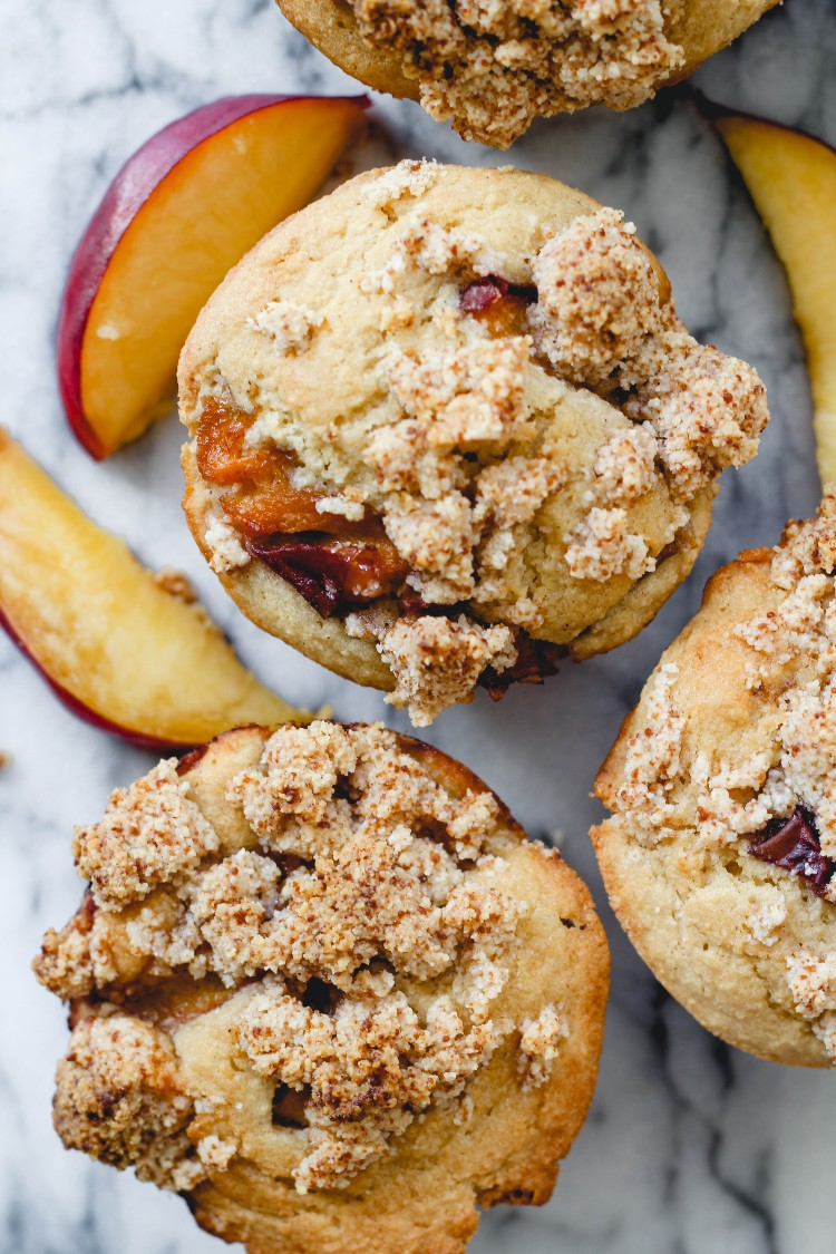 overhead image of peach streusel muffins