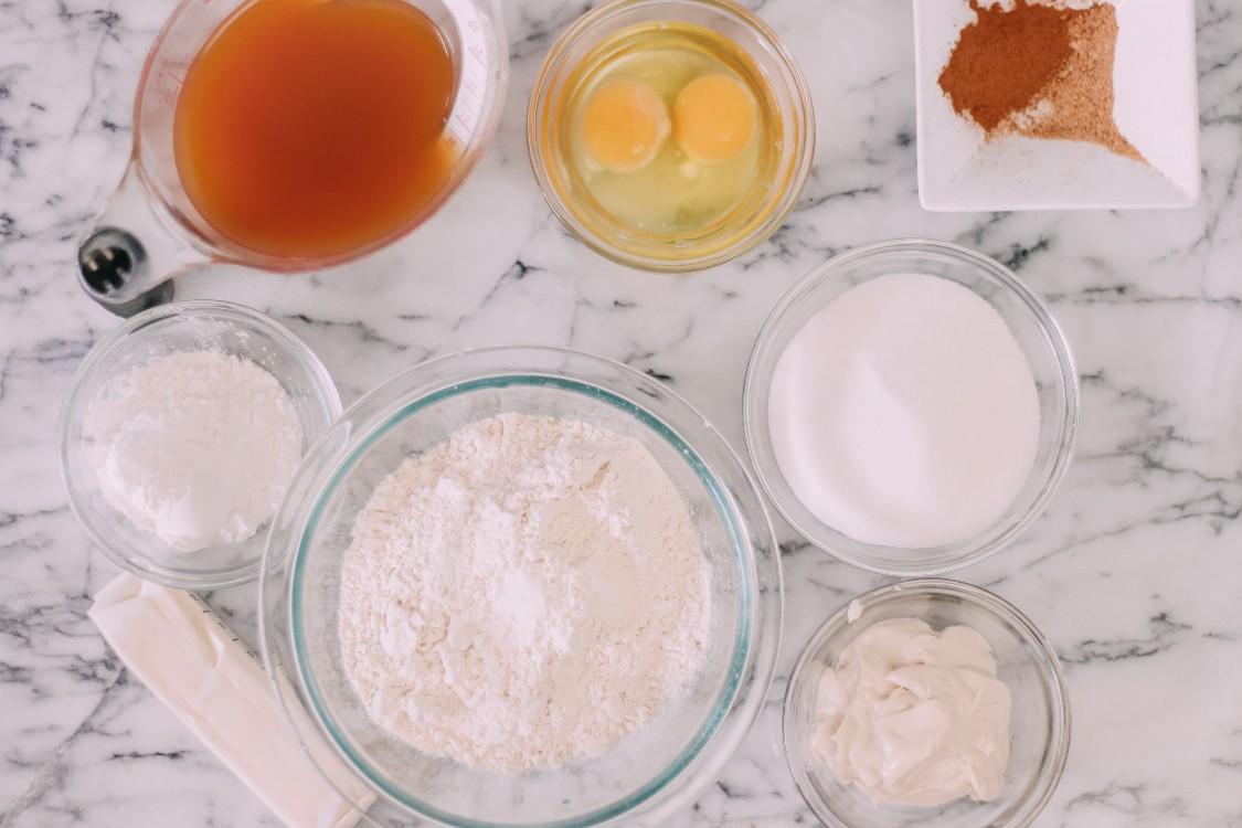 image of ingredients to make apple cider loaf cake