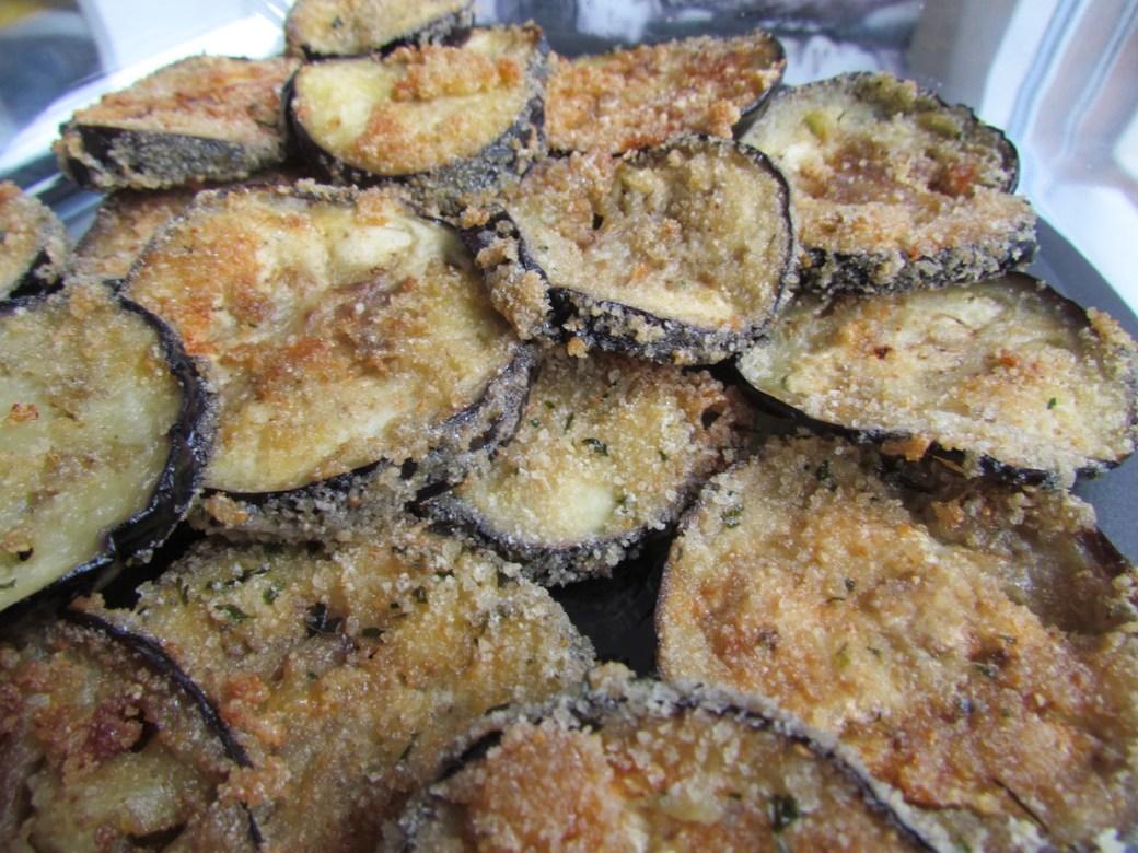 fried eggplants coated in breadcrumbs