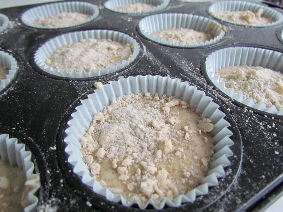muffin batter in pan