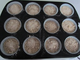 muffin batter poured in pan
