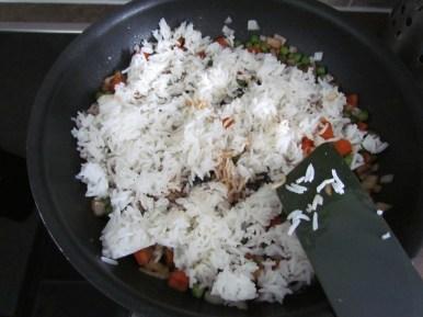 stir-frying rice