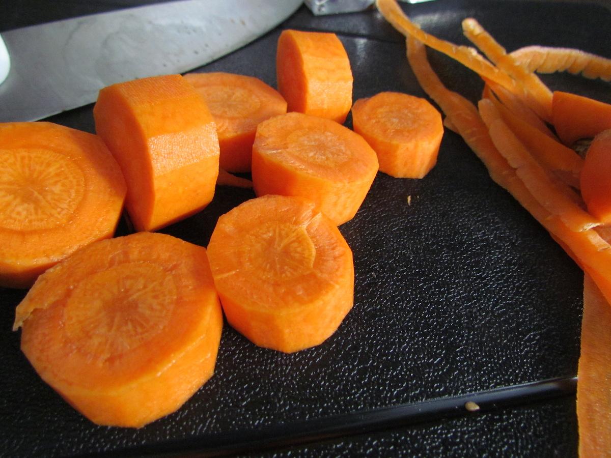 chopping carrots