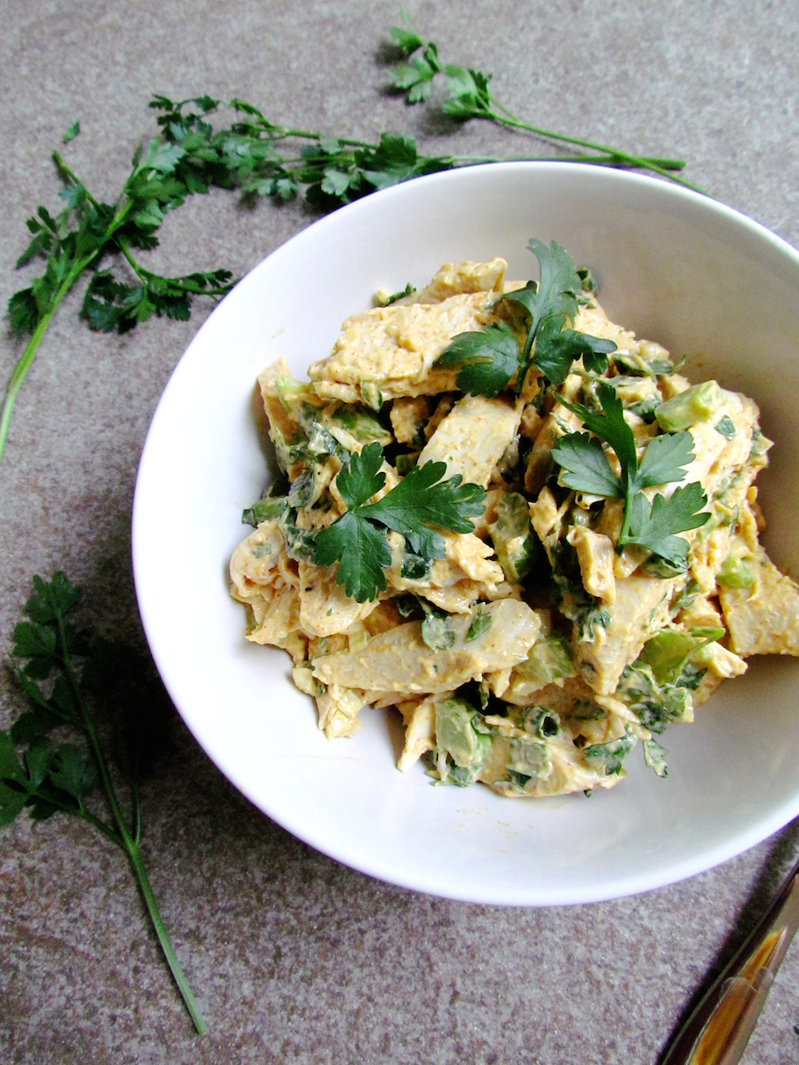 chicken celery salad with spiced mayonnaise