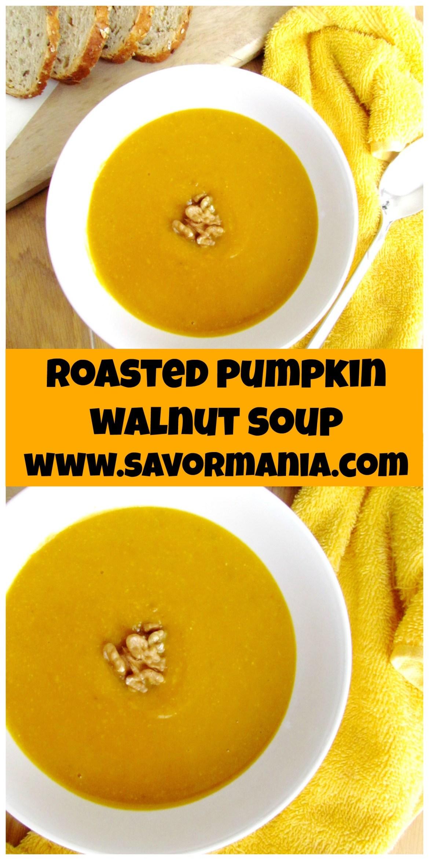 roasted pumpkin walnut soup | www.savormania.com