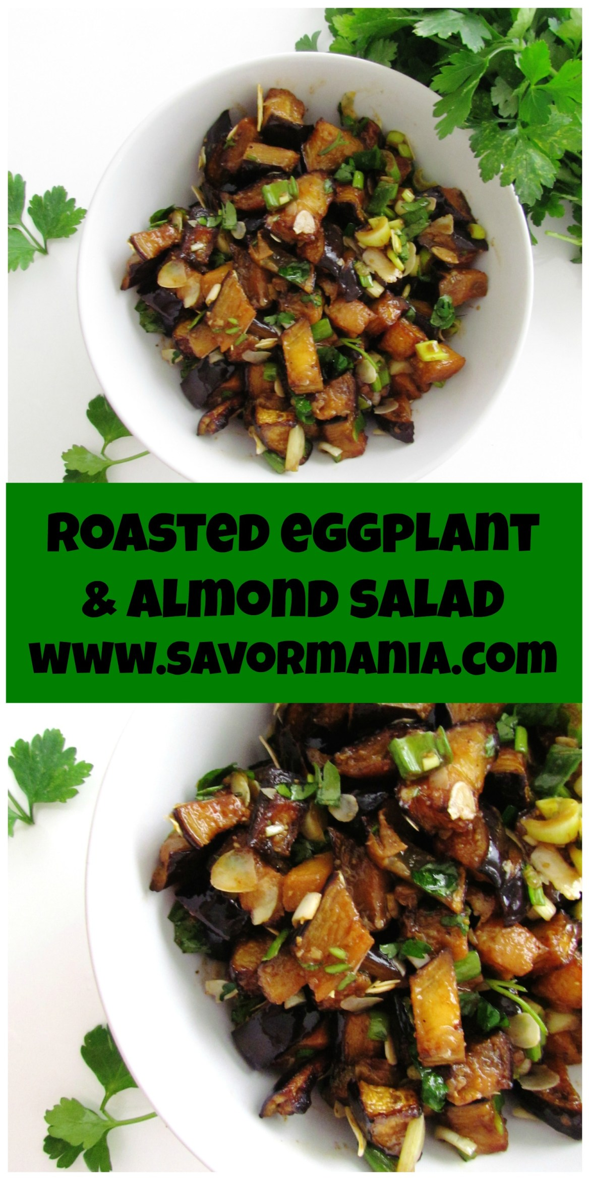 roasted eggplant almond salad | www.savormania.com