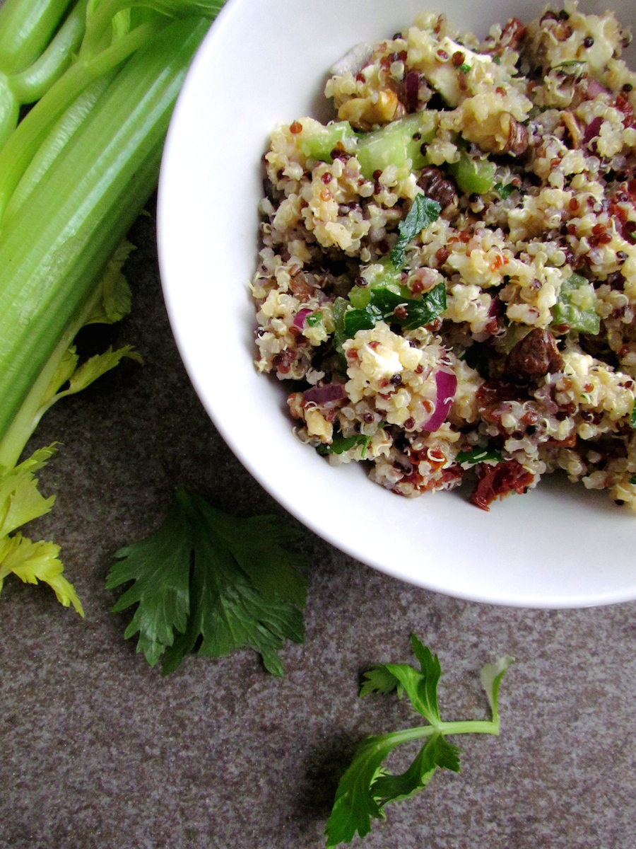 quinoa with walnuts feta and sun-dried tomatoes | www.savormania.com