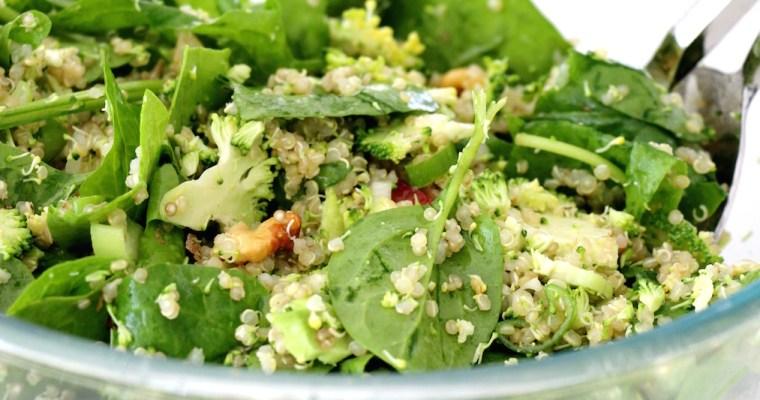 shredded broccoli and spinach quinoa salad (+ news!)