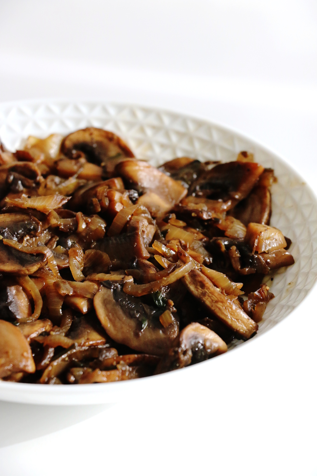 cooked mushroom and caramelized onion salad