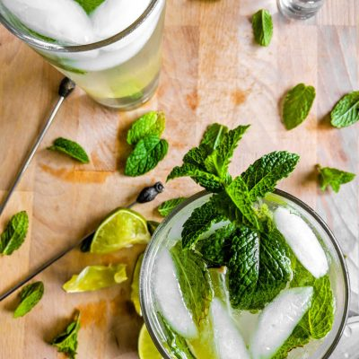 Mojitos with homemade mint simple syrup