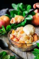 spoonful of peach cobbler