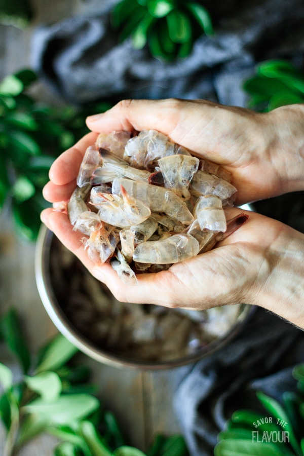 shells from fresh Georgia shrimp