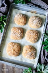 baked ciabatta rolls on a cookie sheet