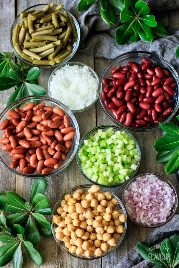 ingredients for three bean salad