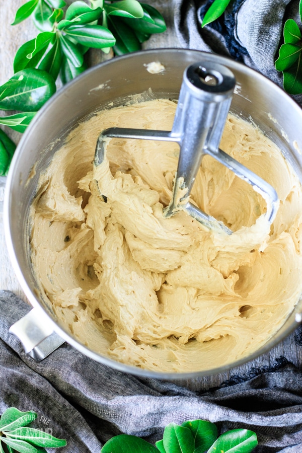 cake batter for peach and blueberry boy bait after eggs are added