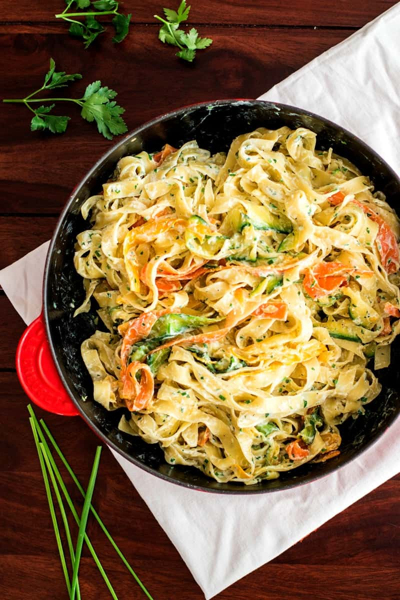 Fettuccine with Ricotta and Zucchini | savorynothings.com